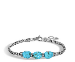 John Hardy Classic Chain Link Silver Slim Bracelet with Turquoise