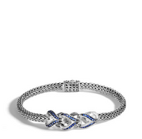 John Hardy Asli Classic Chain Link Silver Bracelet with Blue Sapphire