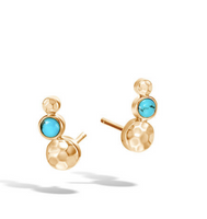 John Hardy Dot Hammered Gold Stud Earrings with Turquoise