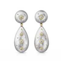 Buccellati Macri Pendant Earrings in 18k White Gold w/ Diamonds