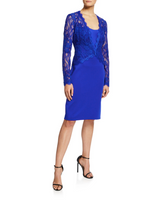 Tadashi Shoji Blue Lace and Neoprene Dress