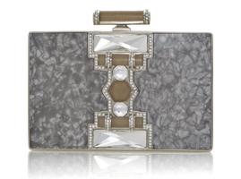 Judith Leiber Ridged Rectangle Jazz Age Handbag in Pearl