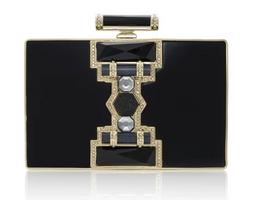 Judith Leiber Ridged Rectangle Jazz Age Handbag in Black