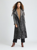 Oscar de la Renta Persian Lamb and Alpaca Boucle Houndstooth Coat