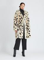 Oscar de la Renta Palomino Mink with Cheetah Intarsia Oversized Coat