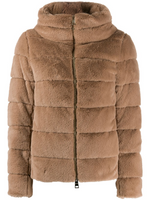 Herno Cammello Quilted Faux Fur Jacket