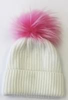 Augustina's Wool/Angora Knit Beanie with Pink Fur Pom Pom