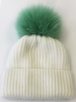 Augustina's Wool/Angora Knit Beanie with Mint Green Fur Pom Pom