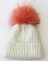 Augustina's Wool/Angora Knit Beanie with Apricot Fur Pom Pom