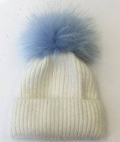 Augustina's Wool/Angora Knit Beanie with Blue Fur Pom Pom