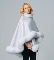 Augustina's Cashmere Glacier Wrap Cape with Fox Fur Trim