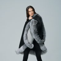Augustina's Cashmere Grey/Black Wrap Cape with Fox Fur Trim