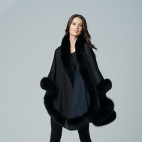 Augustina's Cashmere Navy/Black Wrap Cape with Fox Fur Trim