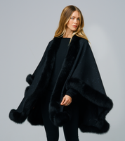 Augustina's Cashmere Iridescent Black Wrap Cape with Fox Fur Trim