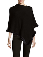 La Fiorentina Black Poncho Trimmed with Rabbit Fur