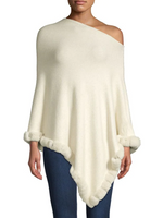 La Fiorentina Ivory Poncho Trimmed with Rabbit Fur