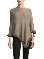La Fiorentina Oatmeal Poncho Trimmed with Rabbit Fur