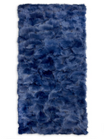 Wolfie Furs Cobalt Blue Fox Fur Throw Blanket