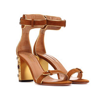 Aquazzura Lucky Star Cognac Suede Sandal with Jeweled Heel