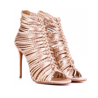 Aquazzura Goddess Powder Pink Satin Strappy Sandal