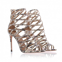 Aquazzura Knockout Roccia Snake Print Sandals