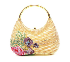 Judith Leiber Couture Top Handle Floral Carry Crystal Bag