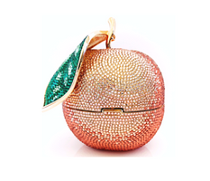 Judith Leiber Couture Peach Fruit Crystal-Covered Clutch