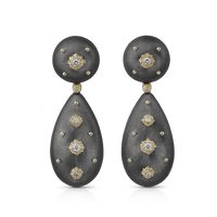 Buccellati Macri Pendant Earrings in 18k Black Gold w/ Diamonds