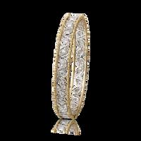 Buccellati Ramage White and Yellow Gold Bangle Bracelet w/ Diamonds