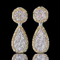 Buccellati Ramage Pendant Earrings w/ Diamonds in 18k White and Yellow Gold