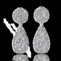 Buccellati Ramage Pendant Earrings w/ Diamonds in 18k White Gold