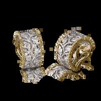 Buccellati Ramage Hoop Earrings w/ Diamonds in 18k Yellow/White Gold