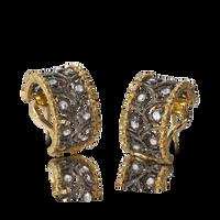 Buccellati Ramage Hoop Earrings w/ Diamonds in 18k Yellow/Black Gold