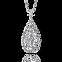 Buccellati Ramage Drop Pendant w/ Diamonds in 18k White Gold