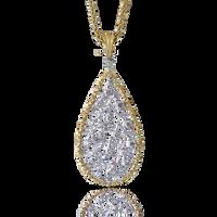 Buccellati Ramage Drop Pendant w/ Diamonds in 18k Yellow/White Gold