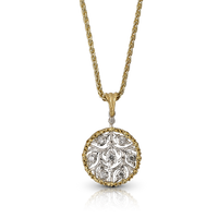 Buccellati Ramage Round Pendant w/ Diamonds in 18k Yellow/White Gold