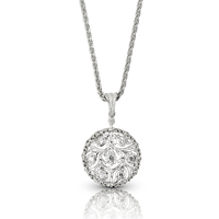 Buccellati Ramage Round Pendant w/ Diamonds in 18k White Gold