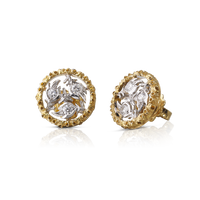 Buccellati Ramage Small Button Earrings w/ Diamonds in 18k Yellow/White Gold