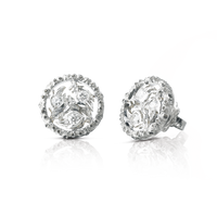 Buccellati Ramage Small Button Earrings w/ Diamonds in 18k White Gold
