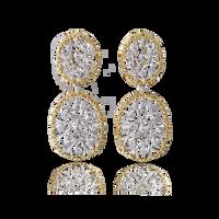 Buccellati Ramage Oval Earrings w/ Diamonds in 18k White/Yellow Gold