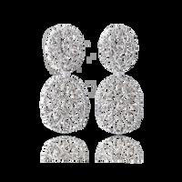 Buccellati Ramage Oval Earrings w/ Diamonds in 18k White Gold