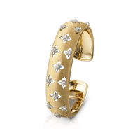 Buccellati Macri Giglio Small Cuff Diamond Yellow Gold Bracelet