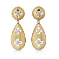 Buccellati Macri  Giglio Pendant Earrings in 18k Yellow Gold w/ Diamonds