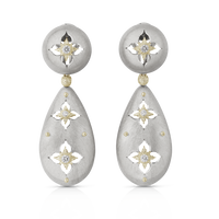 Buccellati Macri  Giglio Pendant Earrings in 18k White Gold w/ Diamonds