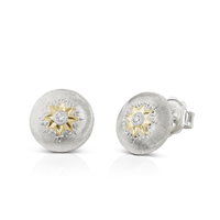 Buccellati Macri Button Earrings in 18k White Gold w/ Diamond