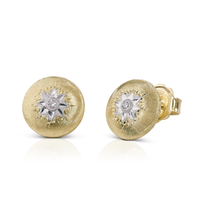 Buccellati Macri Button Earrings in 18k Yellow Gold w/ Diamond
