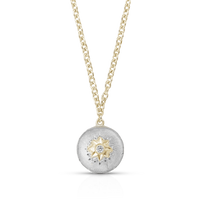 Buccellati Macri Pendant Necklace in 18k White Gold w/ Diamond
