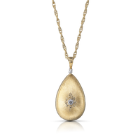 Buccellati Macri Drop Pendant Necklace in 18k Yellow Gold w/ Diamond