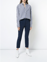Adam Lippes Navy Stretch Cady Cigarette Pant with Pintucks
