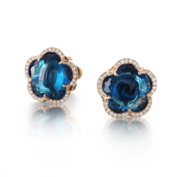 Pasquale Bruni 18k Rose Gold Bon Ton Earrings with London Blue Topaz and Diamonds